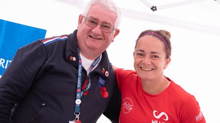 Viv Oakley with Beth Willis, who is walking and cycling 100 miles over two days in aid of the Royal