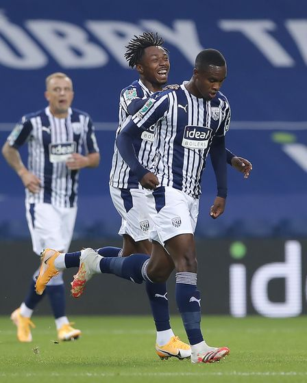 West Bromwich Albion's Rekeem Harper (right) is congratulated by team-mate Kyle Edwards after scorin
