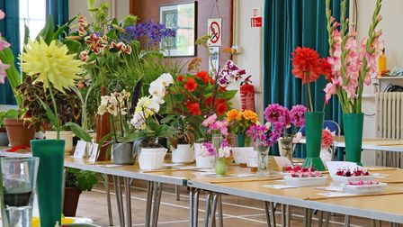 Entries on tables including flowers and vegetables for Bardfield Horticultural Society's Summer Show, Essex