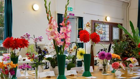 Flowers in vases at Bardfield Horticultural Society's Summer Show, Great Bardfield, Essex