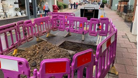 The part of Oak Street dug up by Anglian Water as they work on the burst water main.