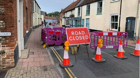 Part of Oak Street in Fakenham had to be closed off after a water main burst earlier on August 9.