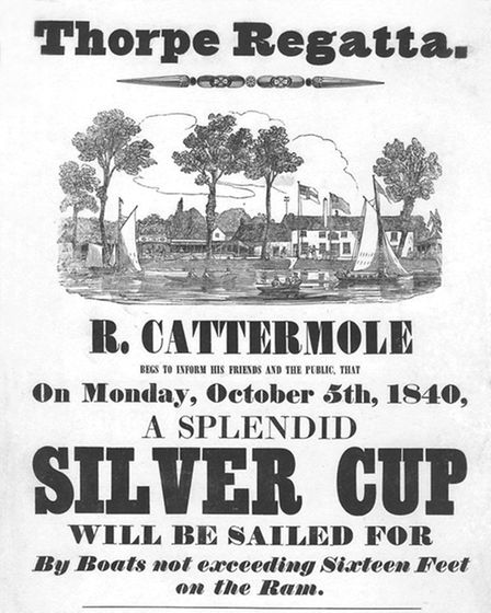 A poster for the Thorpe Regatta event in October 1840