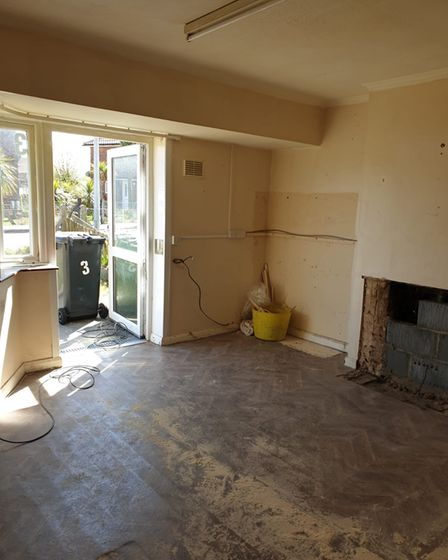 A 'before' shot of the lounge inside one of the houses in Northfield Waye, Wells,