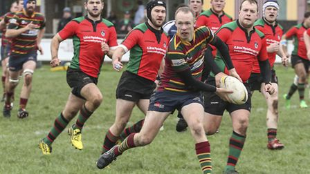 Action from Norwich's (stripes) defeat to Fullerians in the Intermediate Cup at Beeston Hyrne - Jonn