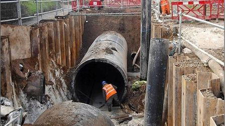 Construction of stormwater storage at Hellesdon Road in recent times.