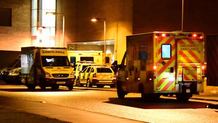 Ambulances stacking up outside A&E at the Norfolk and Norwich University Hospital, which is on Black