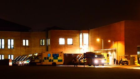 Ambulances stacking up outside the A&E department at the Norfolk and Norwich University Hospital. Pi