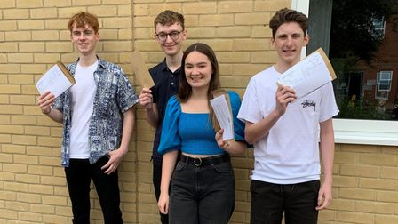 James Corke, Sam Mason, Lucy Knights, Max Bardwell with A Level results.