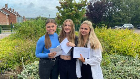 Skye Swanston, Jessica Nicholls and Matilda Beamish with their results at Bungay High School.