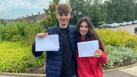 Jeremy Aitken and Coline Lightfoot with their results at Bungay High School.