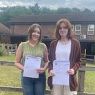 Julia Vlckova and Brier Wycherley with their A-Level results at Thetford Academy Sixth Form
