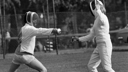 The gauntlet was thrown down for a fencing battle in Ipswich 1979 Picture: OWEN HINES