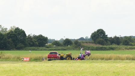 A crashed gyrocopter at Beccles Airfield. Picture: Danielle Booden