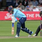 Josh Rymell in batting action for Essex against Sussex Sharks