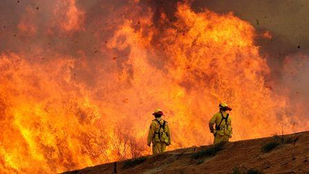A pair of Los Angeles County firefighters are dwarfed by flames.