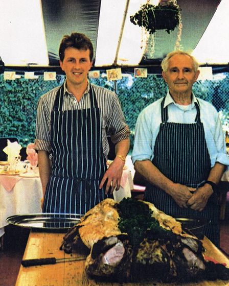 Bertie Graves, right, with his grandson Paul at the family butchers in Briston, around the year 1978.
