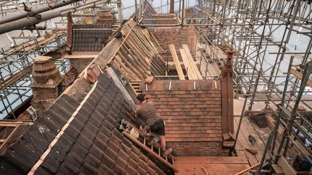 The new roof at the National Trust's Oxburgh Hall, Norfolk, will be bat friendly after a £6m project