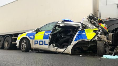 The police car after it was struck by a lorry being driven by Stowmarket's Christopher Swain