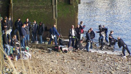Moviecrew on Thames foreshore at Wapping filming 'Sherlock Holmes' in 2008