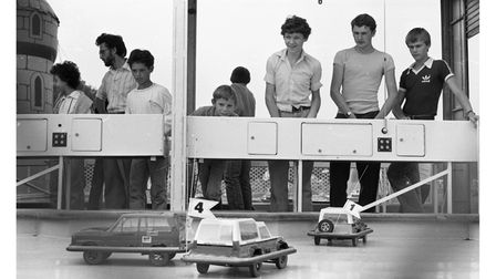 Someearly remote control cars were available for the public to play with at Henham Steam Rally in 1982