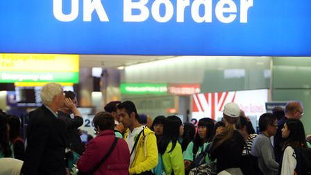 Passengers going through UK Border at Terminal 2 of Heathrow Airport. Photo: Steve Parsons/PA Wire
