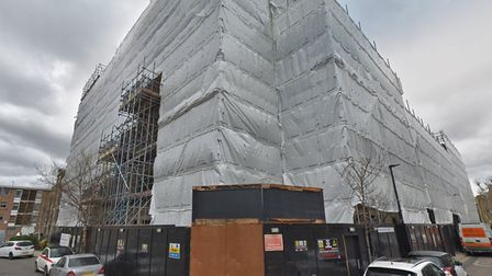 Barchester Court under wraps... after planningpermission in 2015 to demolish a factory and warehouse