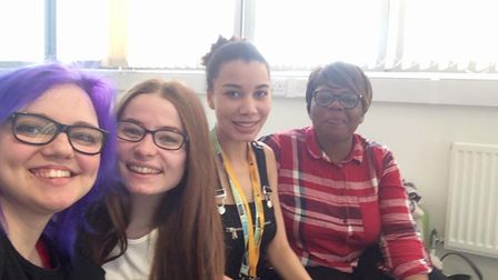 Tamika Green with some of her friends at university