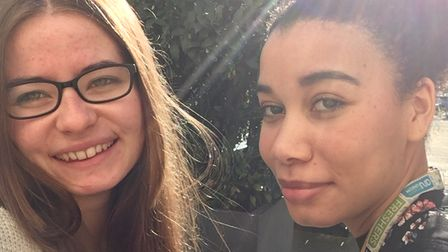 Tamika with her friend at Anglia Ruskin in Cambridge