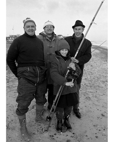 Happy anglers pictured during a sponsored fish-In at Southwold in January 1976.