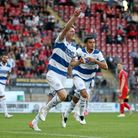 Rob Dickie of QPR scores the first goal for his team and celebrates during Leyton Orient vs Queens P