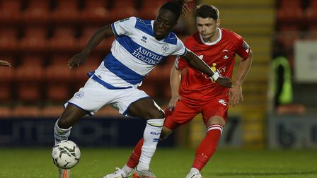 Osman Kakay of QPR and Connor Wood of Orient during Leyton Orient vs Queens Park Rangers, Carabao Cu
