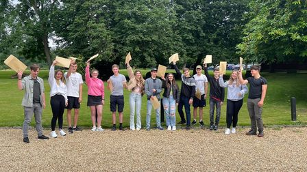 Pupils celebrating their results at Stoke College