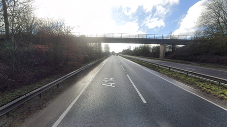 A single vehicle crash involving a motorcyclist has brought a part of the A14 near Bury St Edmunds