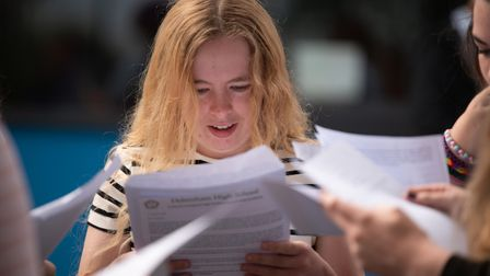 Students pick up their GCSE results at Debenham High School. Picture: Sarah Lucy Brown