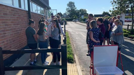 Students queue up to collect their results at Fakenham Academy.