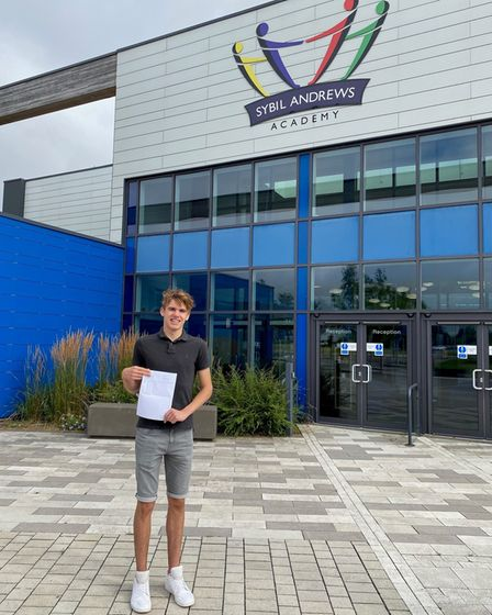 Dylan Marsh from Sybil Andrews Academy celebrates his results