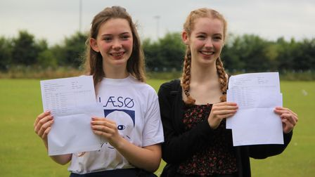 Rosy Morelli and Charlotte Farrelly with their GCSE results at Thomas Gainsborough School