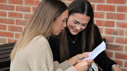 Charys Thomas and Saffy Gwynn look over their results
