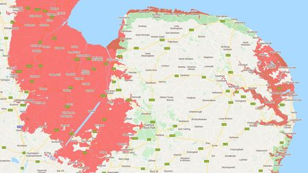 A mapcreated by Climate Central, which shows which areas of Norfolk are likely to be below the annual flood level by 2030.