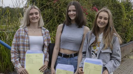 Isobel McGerty, Amelia Hodge and Juliet Bigley with their grade certificates