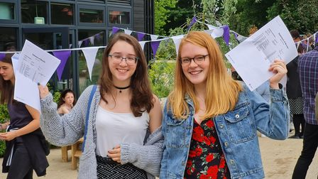 Jessica Terrell and Emma Balaam, from Stowupland High School,celebrate their results