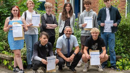 Students atSETBeccleson GCSE results day with Head of School Heidi Philpott.