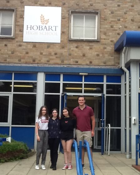 Students fromHobart High School celebrating their GCSE results.