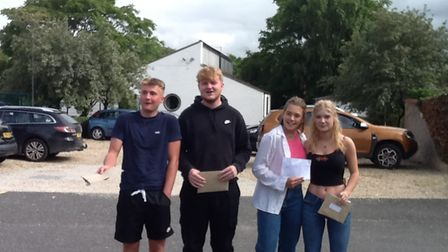 Students at Hobart High School celebrating their GCSE results.