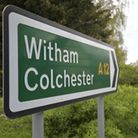 A sign with a green panel: A12 - Witham - Colchester