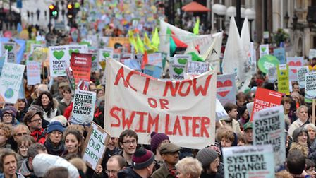 Climate campaigners in London, as world leaders gather in Paris for the start of crucial talks on cl