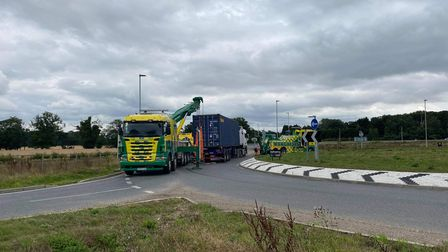 A14 rougham lorry overturned