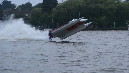 Mr Warren's boat flipping into the water at Oulton Broad.