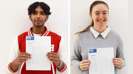 Top GCSE pupils get their winning results...Tahmid Hussen and Poppy Jenkins